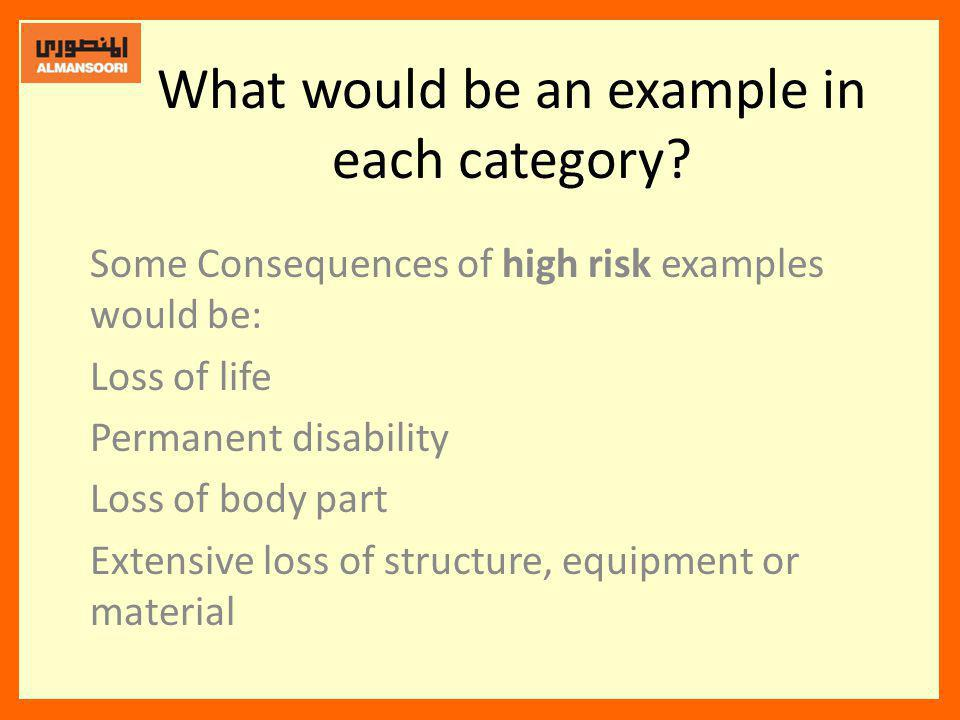What would be an example in each category