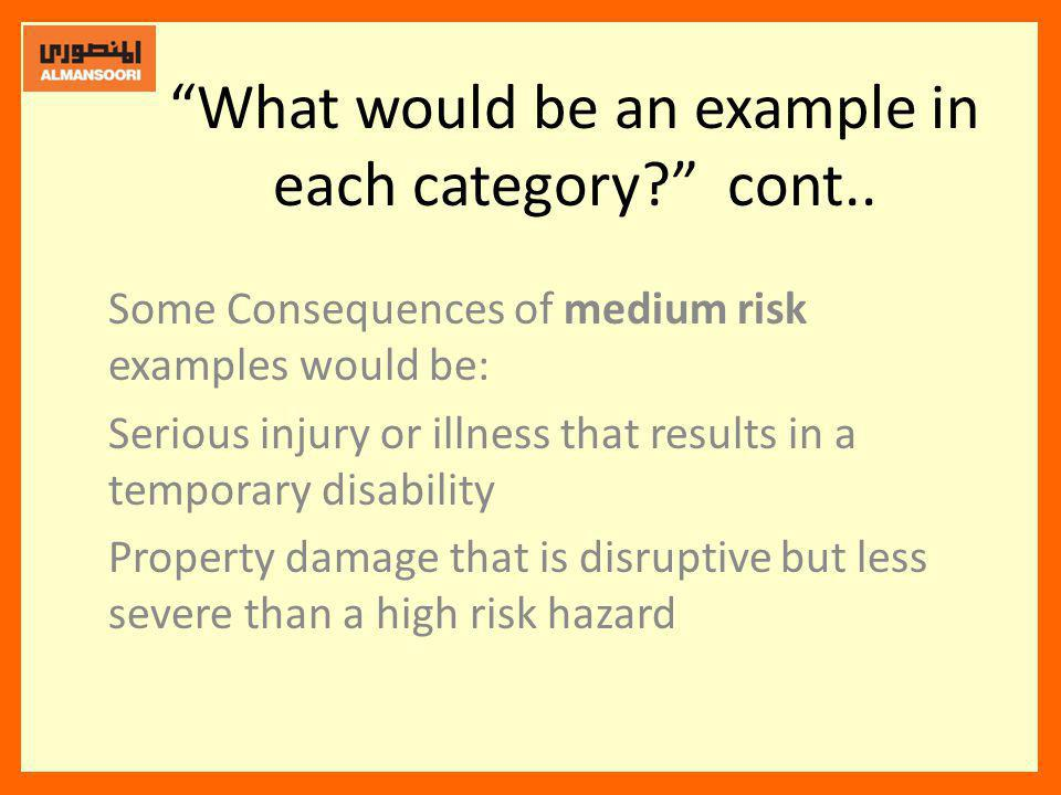 What would be an example in each category cont..