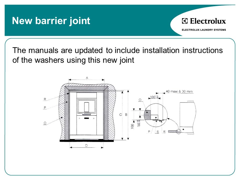 New barrier joint The manuals are updated to include installation instructions of the washers using this new joint.