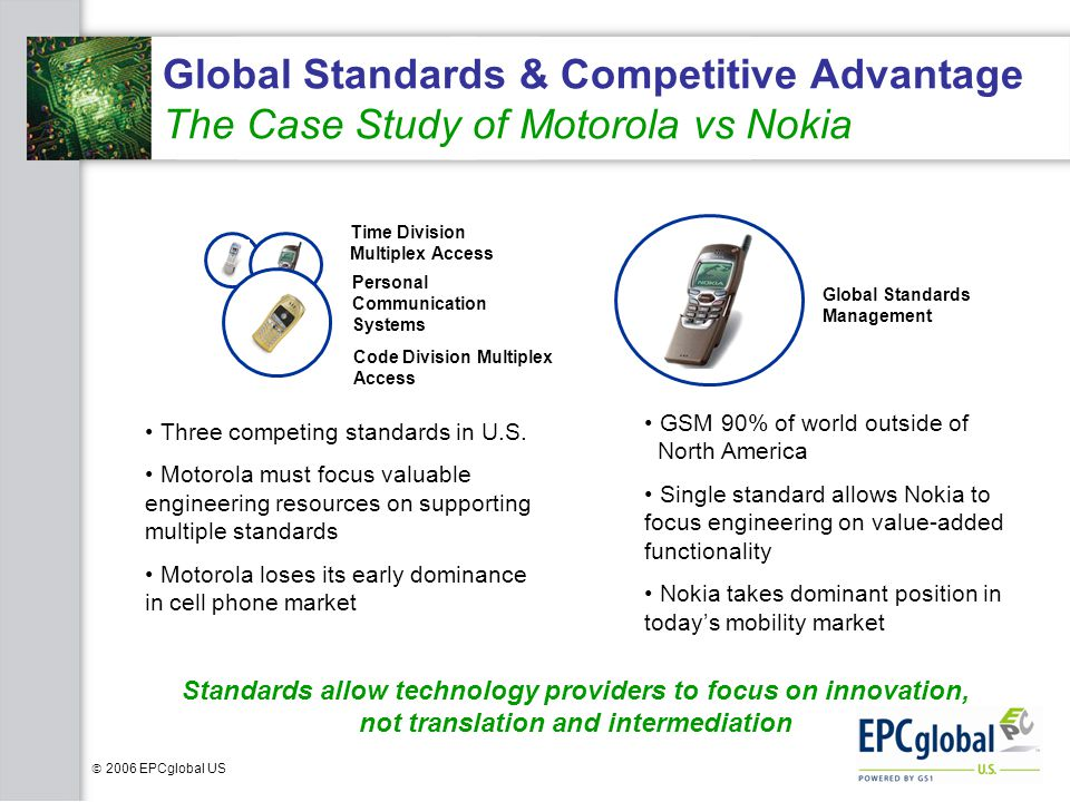 Global Standards & Competitive Advantage The Case Study of Motorola vs Nokia