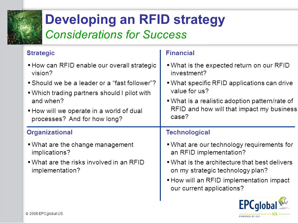 Developing an RFID strategy Considerations for Success