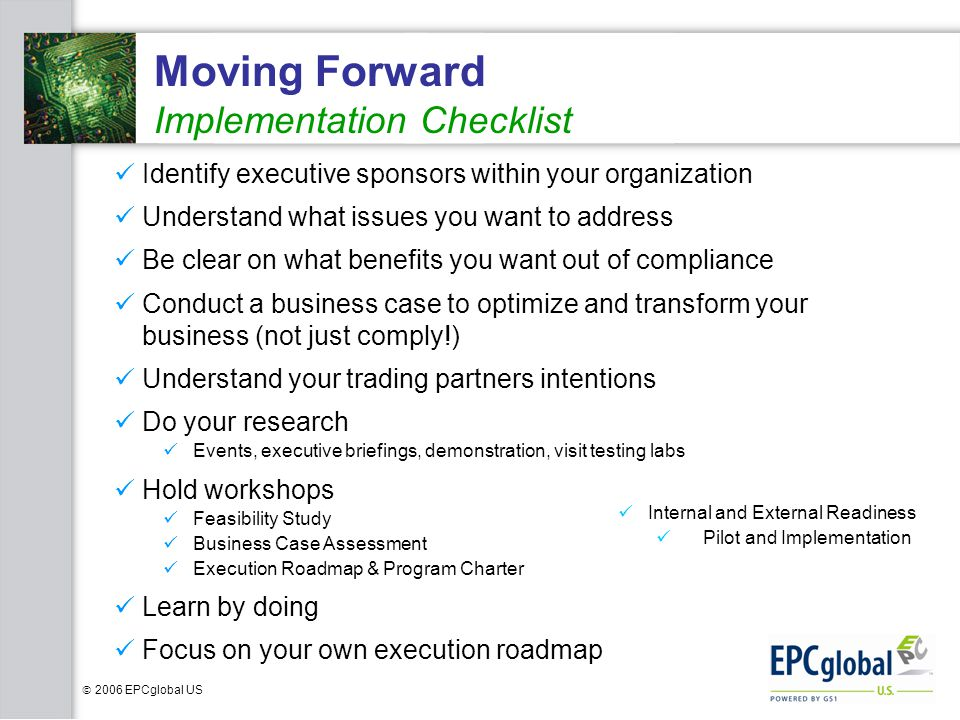 Moving Forward Implementation Checklist