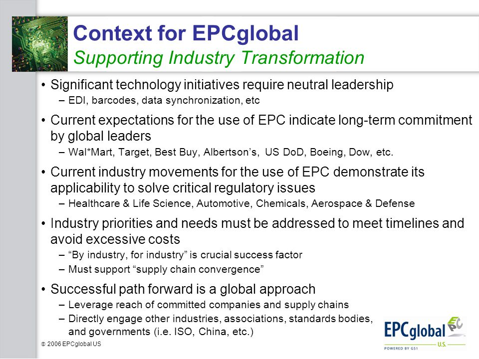 Context for EPCglobal Supporting Industry Transformation