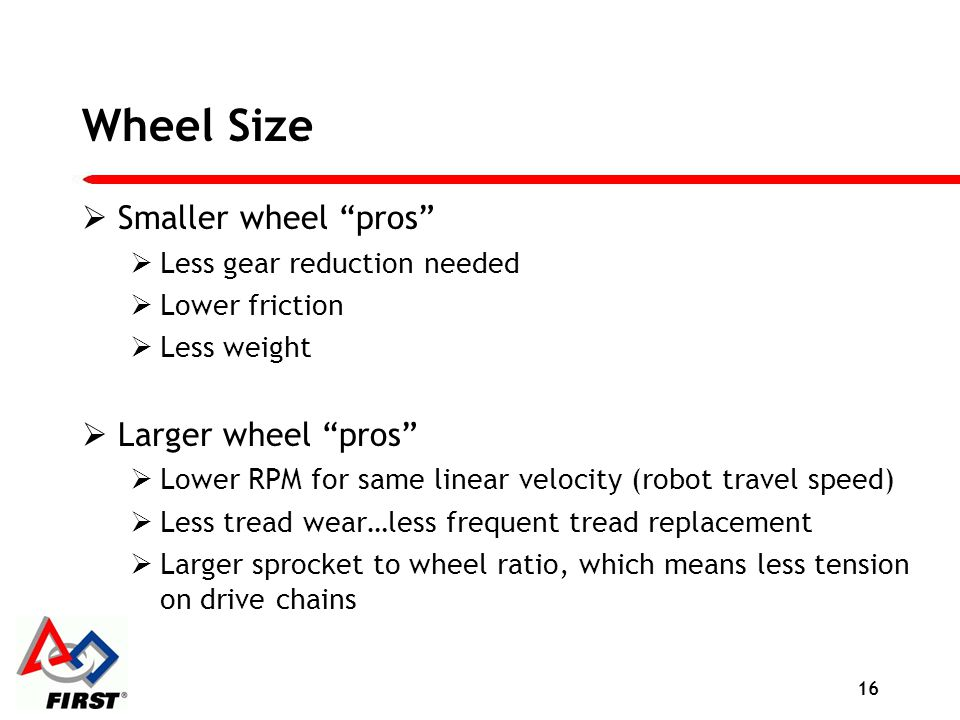 Wheel Size Smaller wheel pros Larger wheel pros