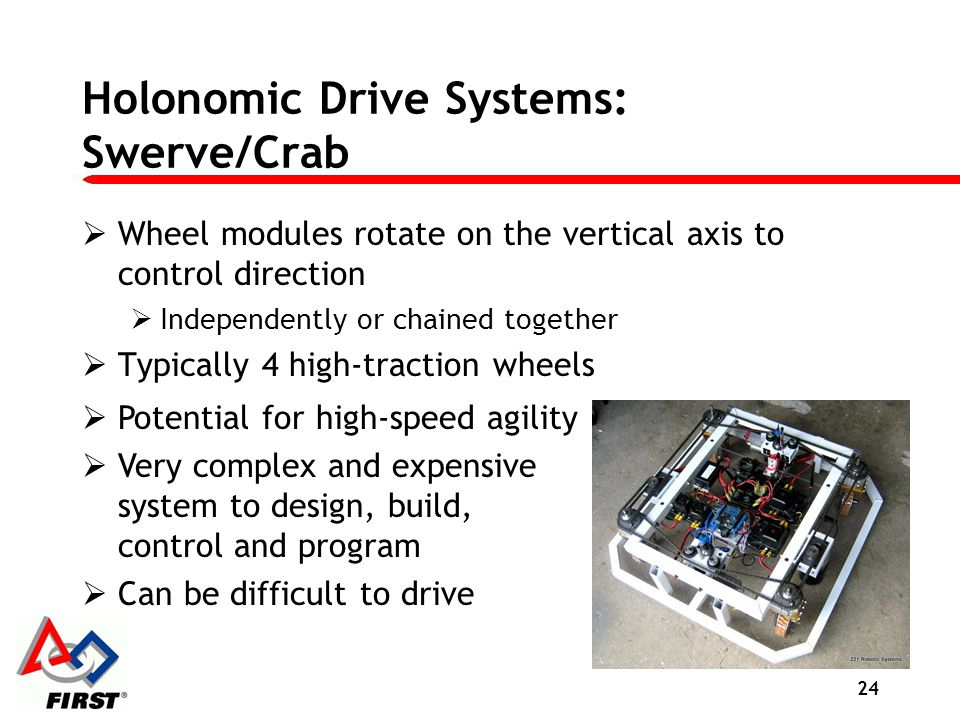 Holonomic Drive Systems: Swerve/Crab