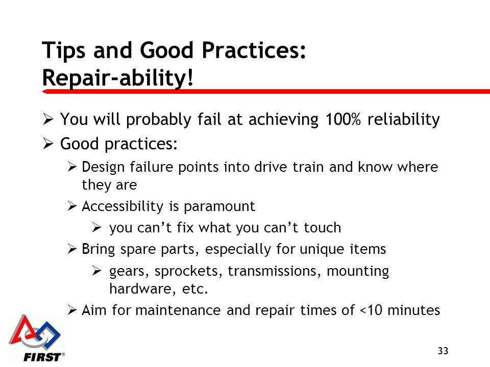 Tips and Good Practices: Repair-ability!