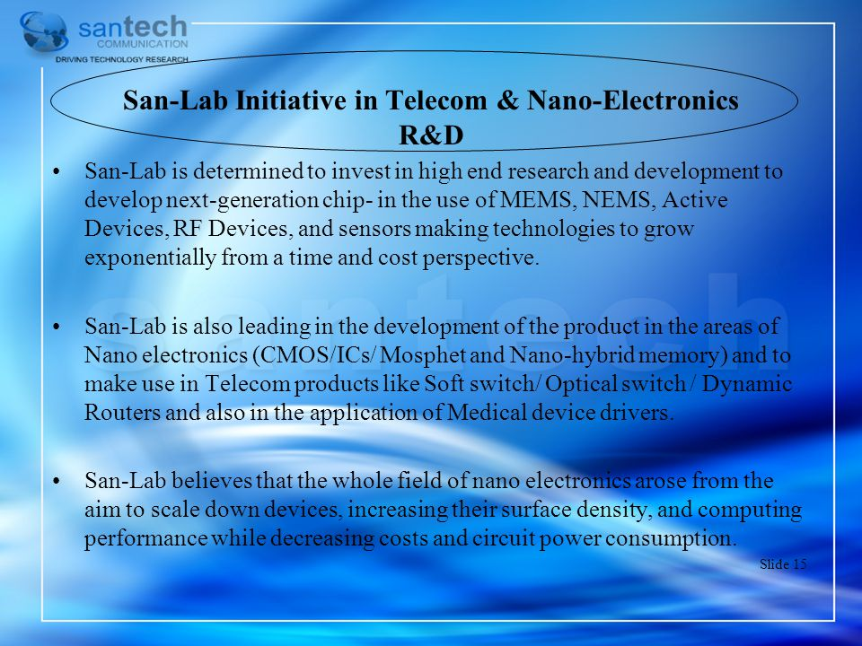 San-Lab Initiative in Telecom & Nano-Electronics R&D