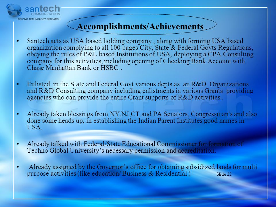 Accomplishments/Achievements