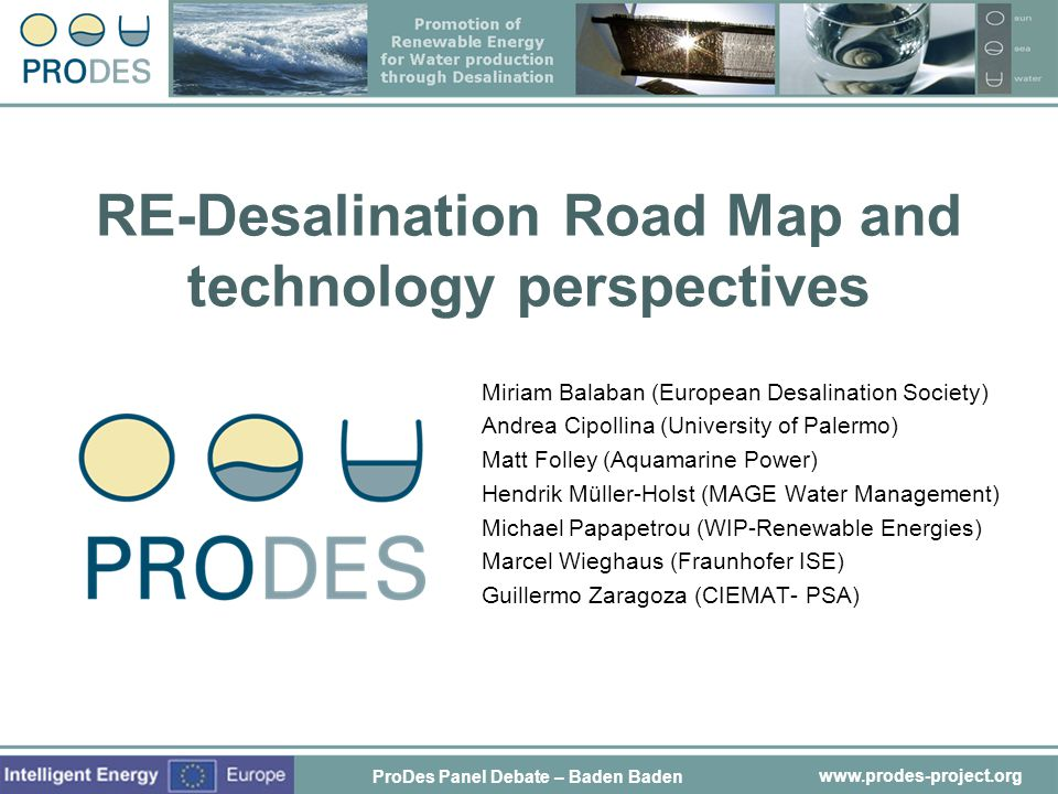 RE-Desalination Road Map and technology perspectives