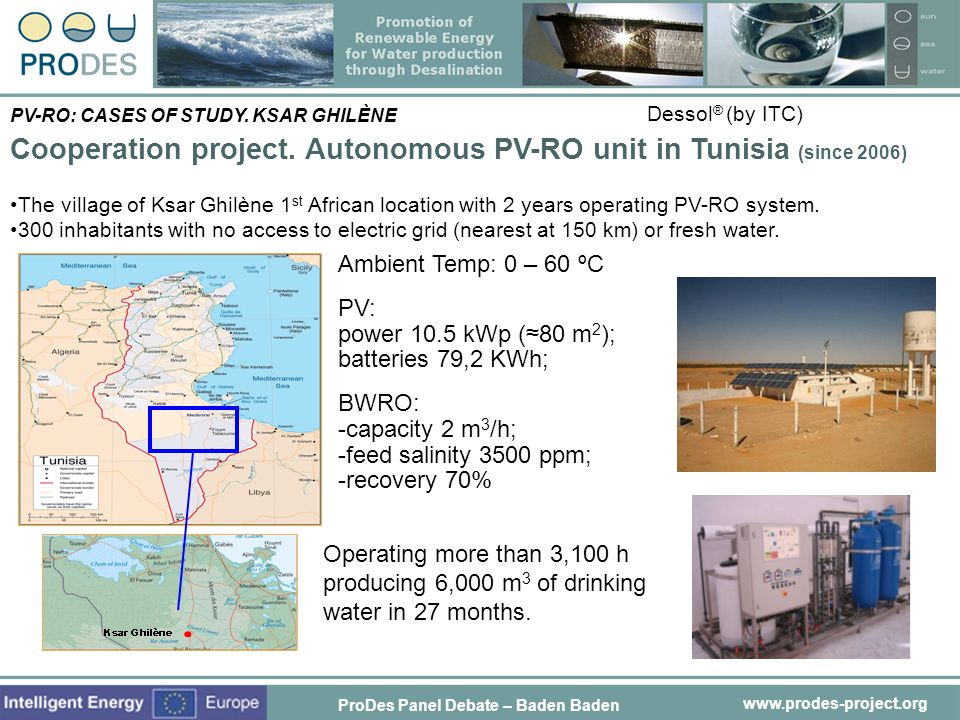 Cooperation project. Autonomous PV-RO unit in Tunisia (since 2006)