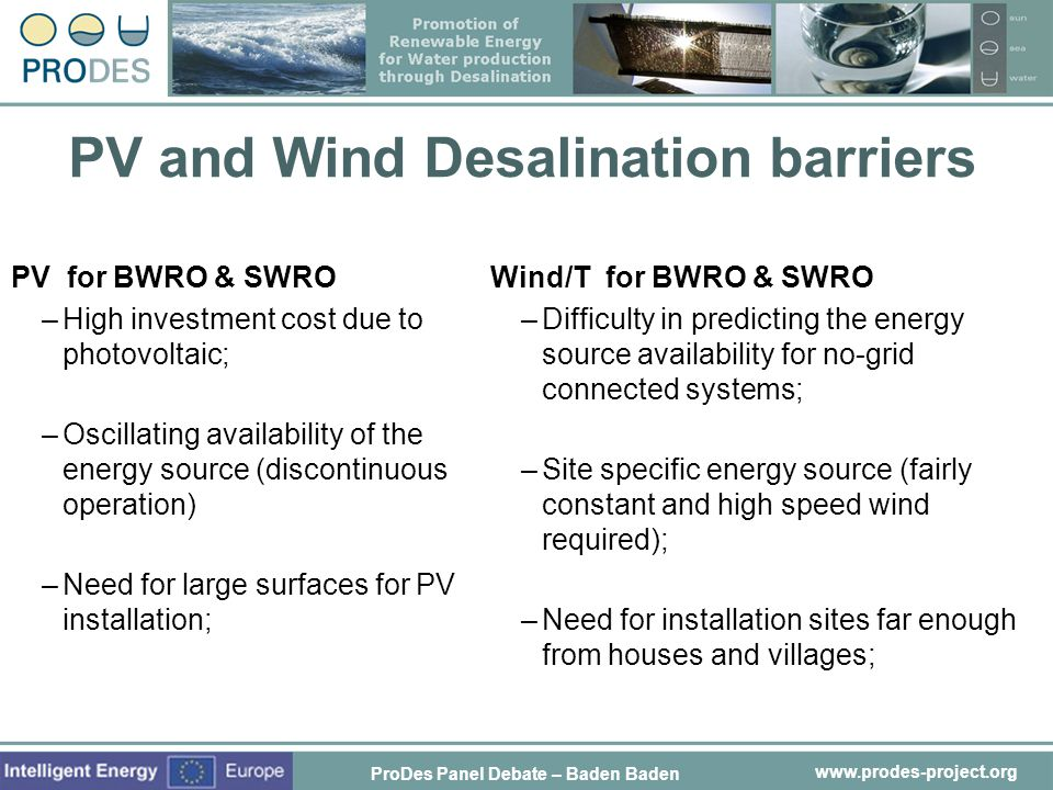 PV and Wind Desalination barriers