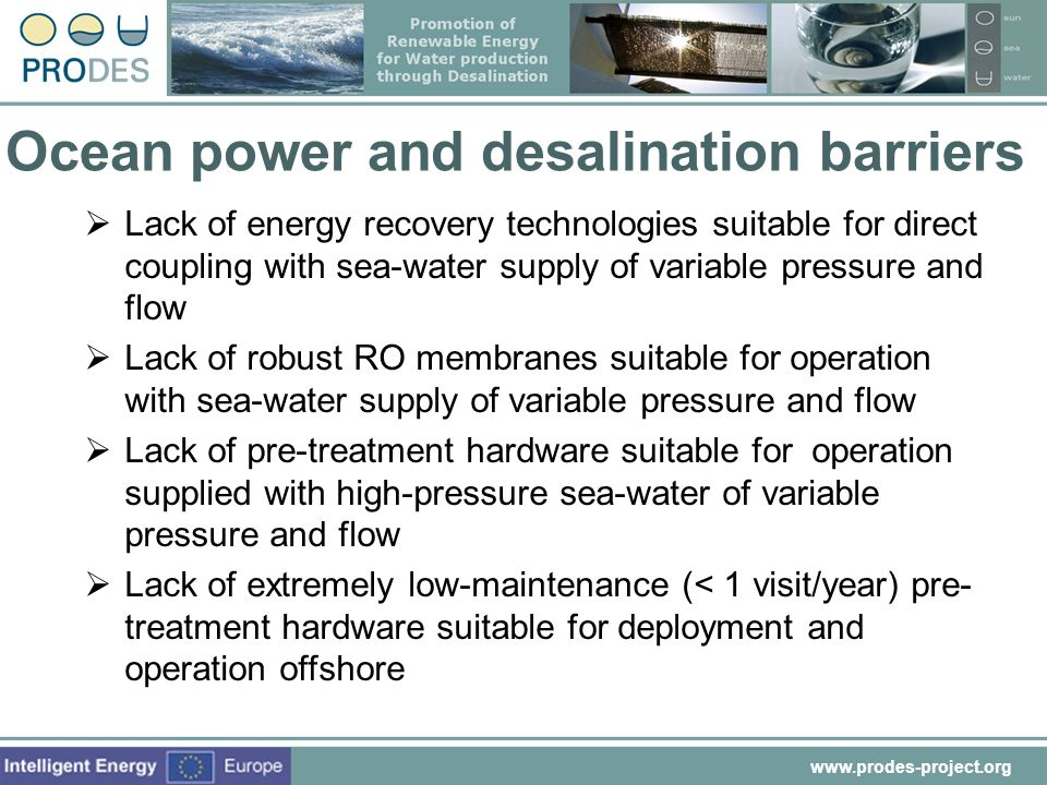 Ocean power and desalination barriers