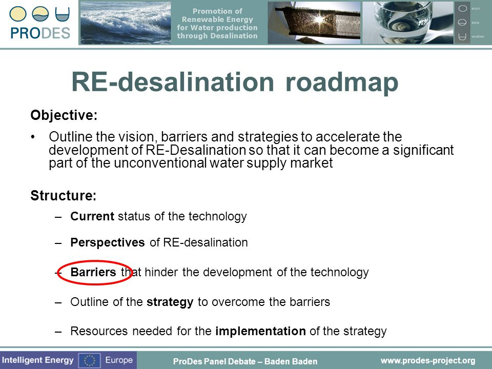 RE-desalination roadmap