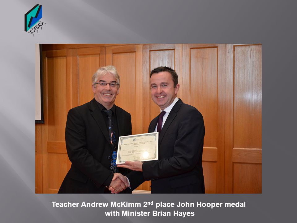 Teacher Andrew McKimm 2nd place John Hooper medal