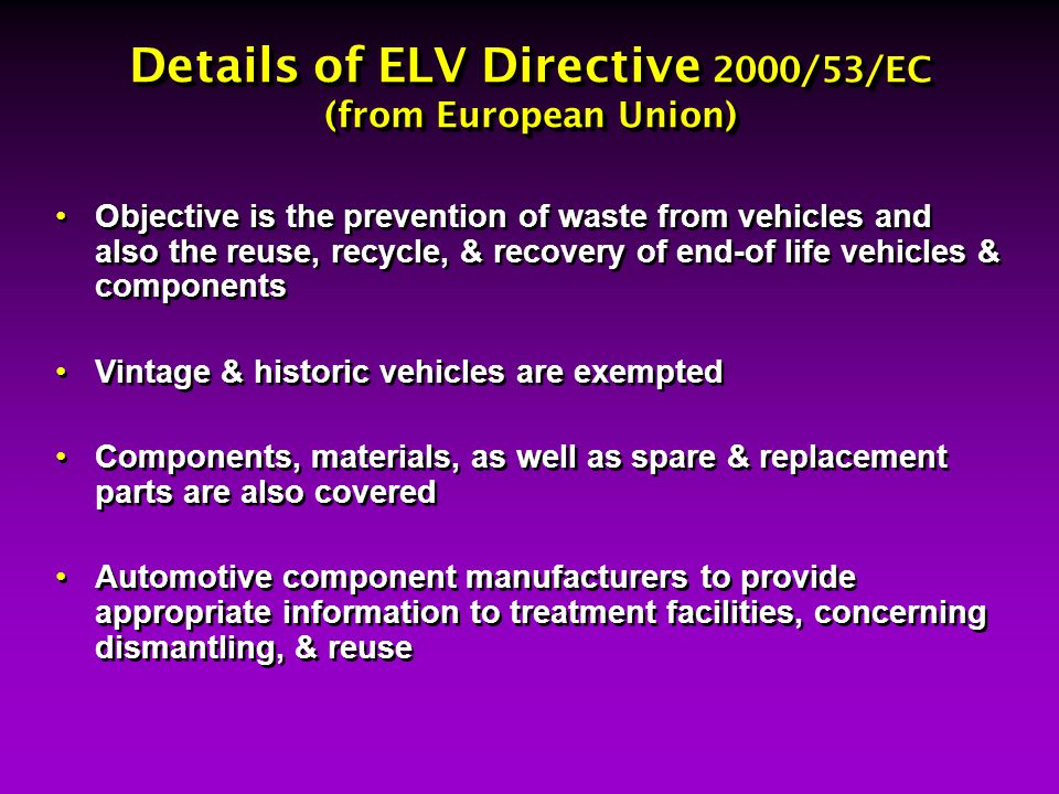 Details of ELV Directive 2000/53/EC (from European Union)
