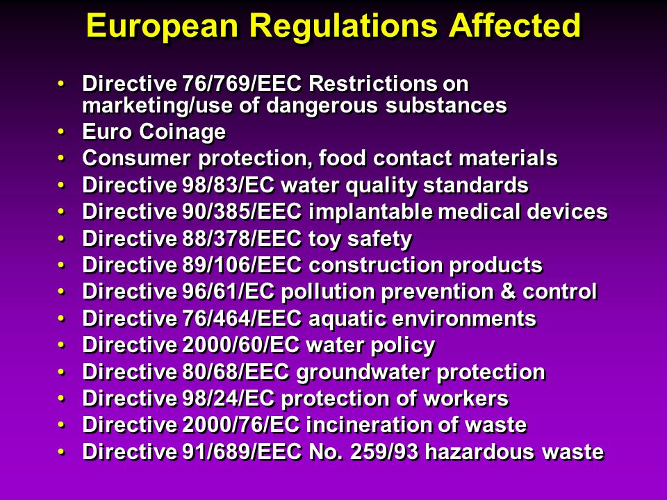 European Regulations Affected