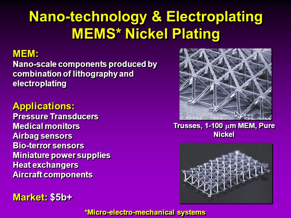 Nano-technology & Electroplating MEMS* Nickel Plating