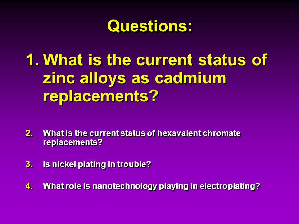 What is the current status of zinc alloys as cadmium replacements