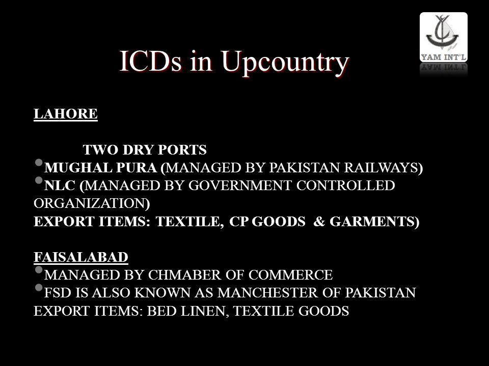 ICDs in Upcountry LAHORE TWO DRY PORTS