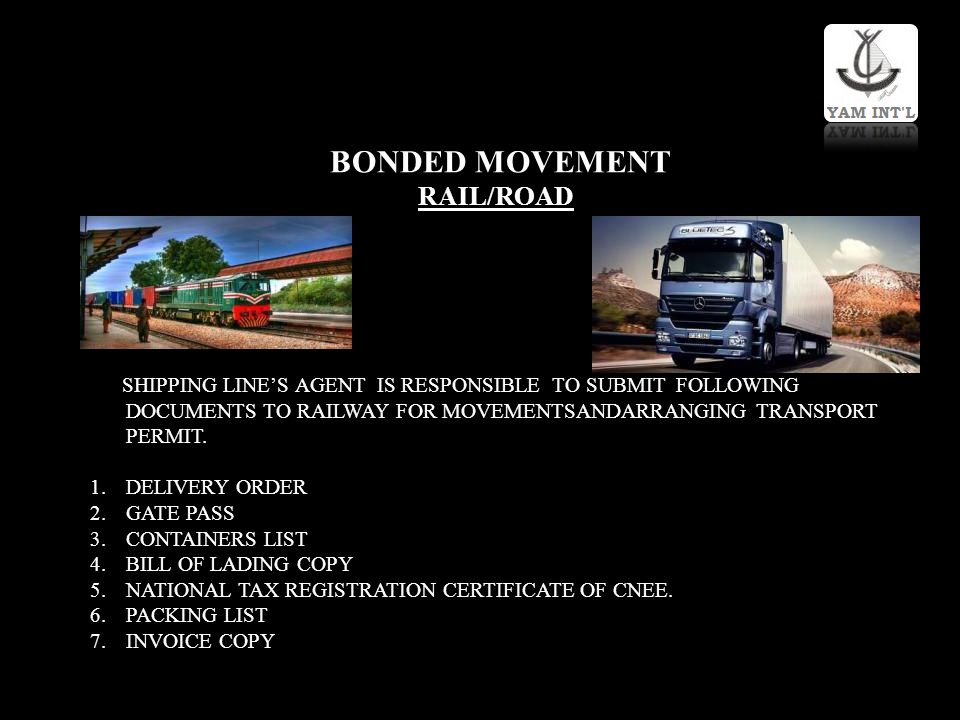 BONDED MOVEMENT RAIL/ROAD