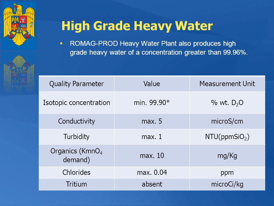 High Grade Heavy Water ROMAG-PROD Heavy Water Plant also produces high grade heavy water of a concentration greater than 99.96%.