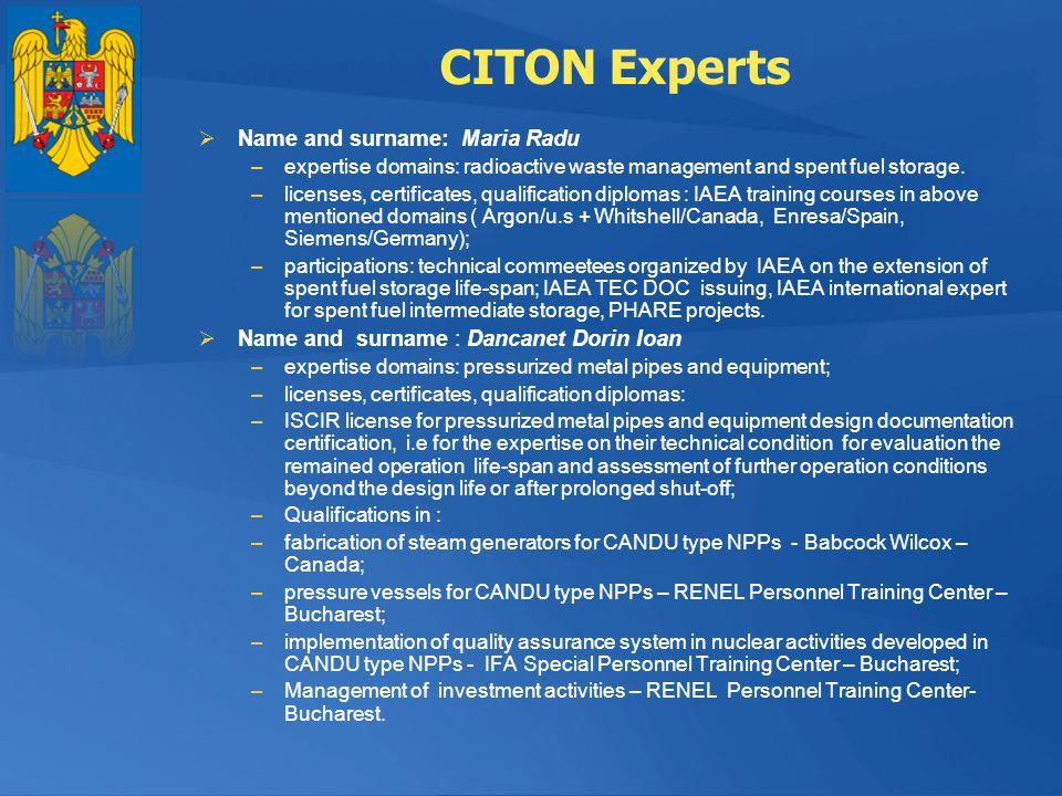 CITON Experts Name and surname: Maria Radu