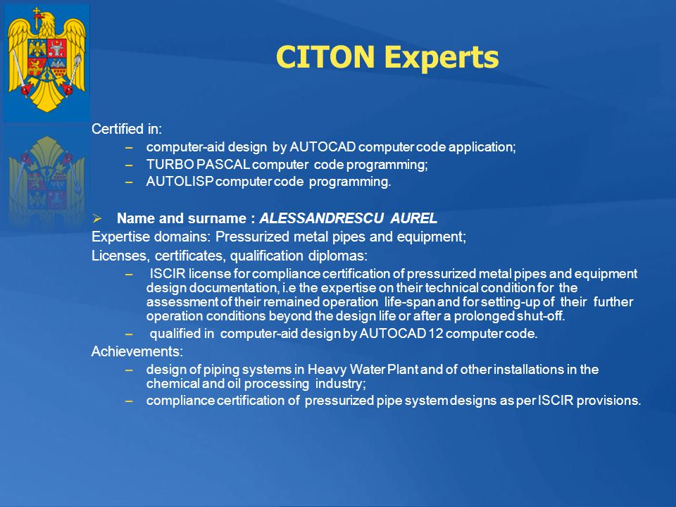 CITON Experts Certified in: Name and surname : ALESSANDRESCU AUREL
