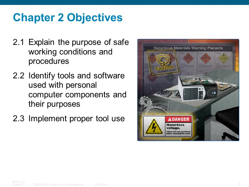 Chapter 2 Objectives 2.1 Explain the purpose of safe working conditions and procedures.