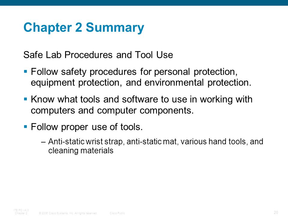 Chapter 2 Summary Safe Lab Procedures and Tool Use