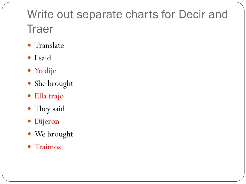 Write out separate charts for Decir and Traer