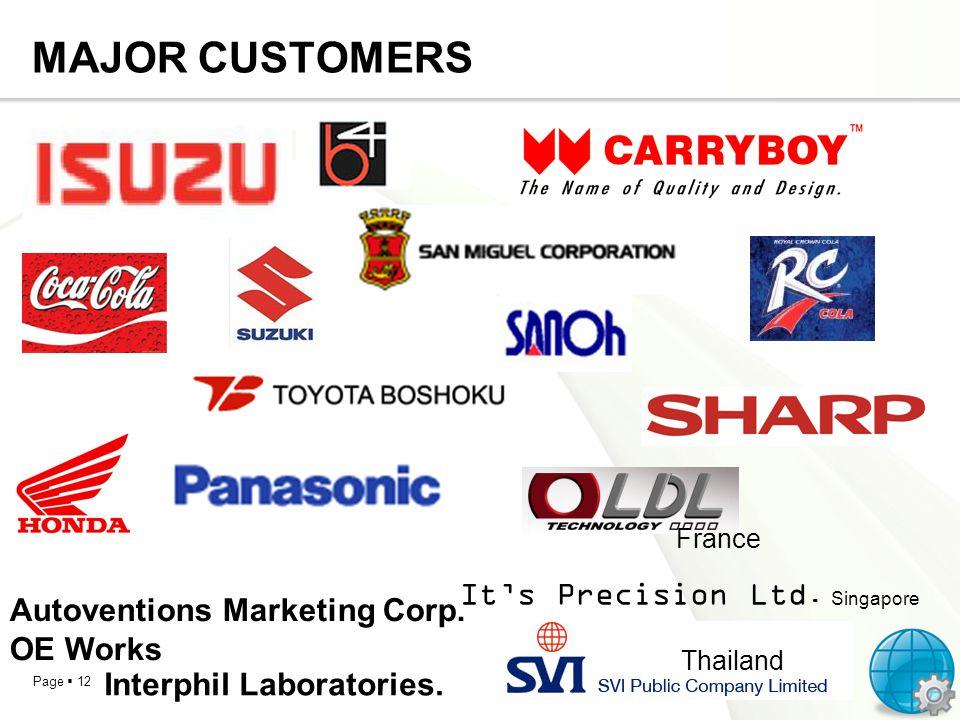 MAJOR CUSTOMERS It's Precision Ltd. Singapore
