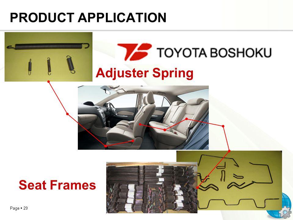 PRODUCT APPLICATION Adjuster Spring Seat Frames