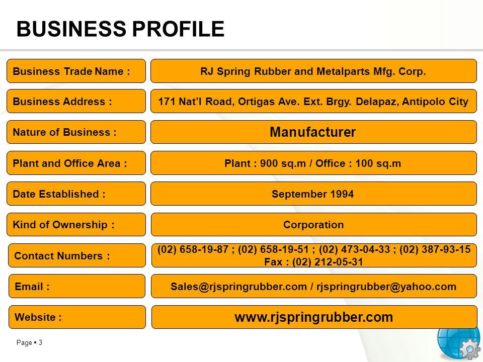 BUSINESS PROFILE Manufacturer www.rjspringrubber.com
