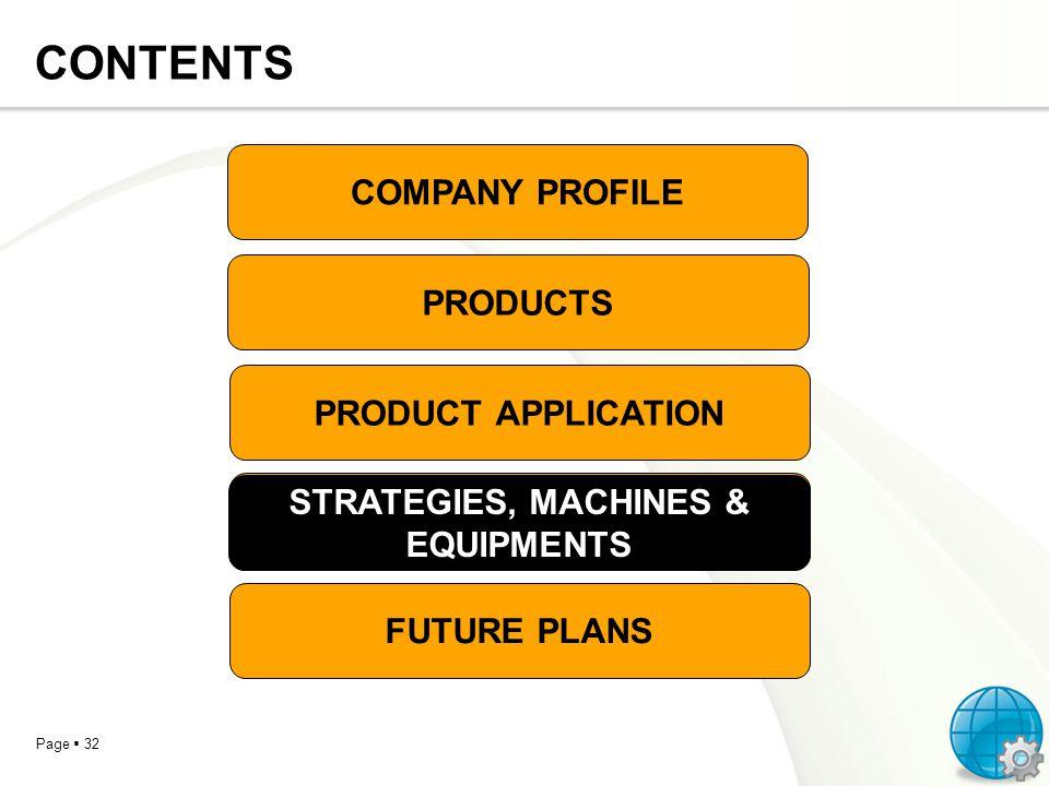 STRATEGIES, MACHINES & EQUIPMENTS STRATEGIES, MACHINES & EQUIPMENTS