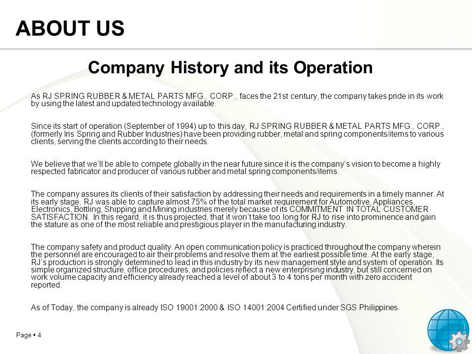Company History and its Operation
