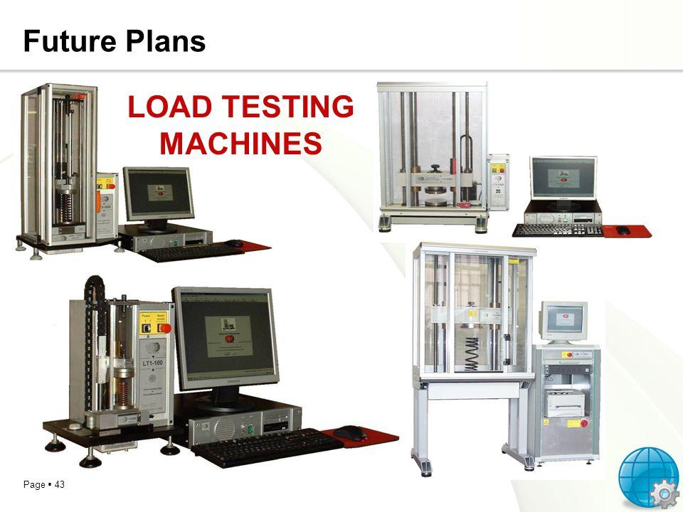 Future Plans LOAD TESTING MACHINES