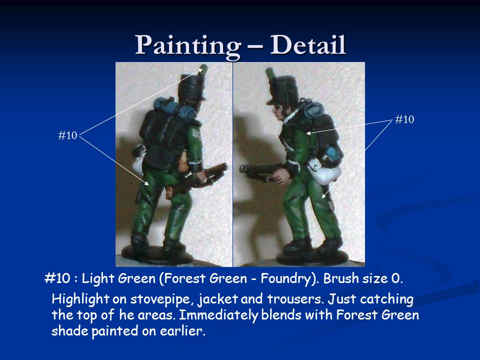 Painting – Detail #10. #10. #10 : Light Green (Forest Green - Foundry). Brush size 0.
