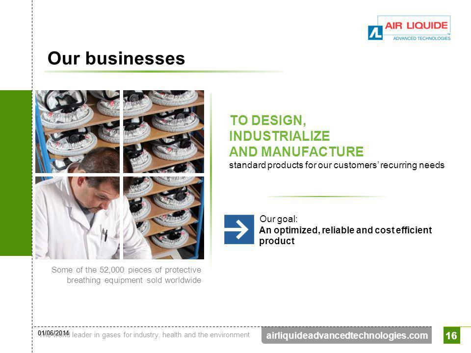 Our businesses TO DESIGN, INDUSTRIALIZE AND MANUFACTURE standard products for our customers' recurring needs.