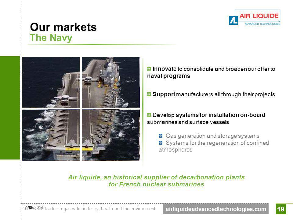 Our markets The Navy. Innovate to consolidate and broaden our offer to naval programs. Support manufacturers all through their projects.