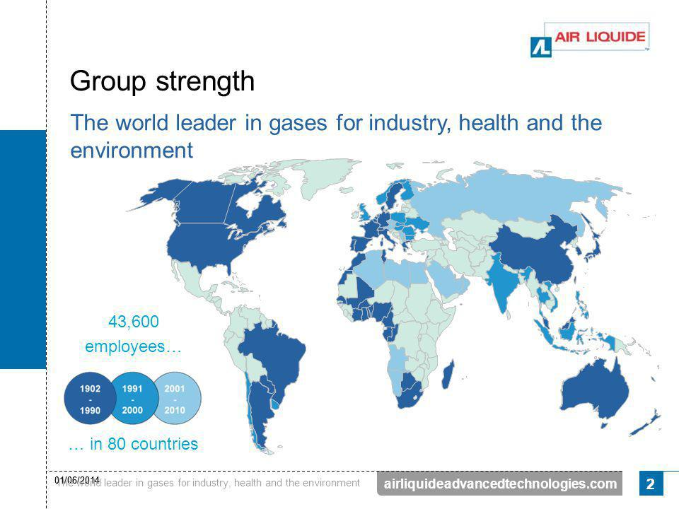 Group strength The world leader in gases for industry, health and the environment. 43,600. employees…