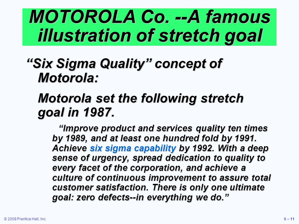 MOTOROLA Co. --A famous illustration of stretch goal
