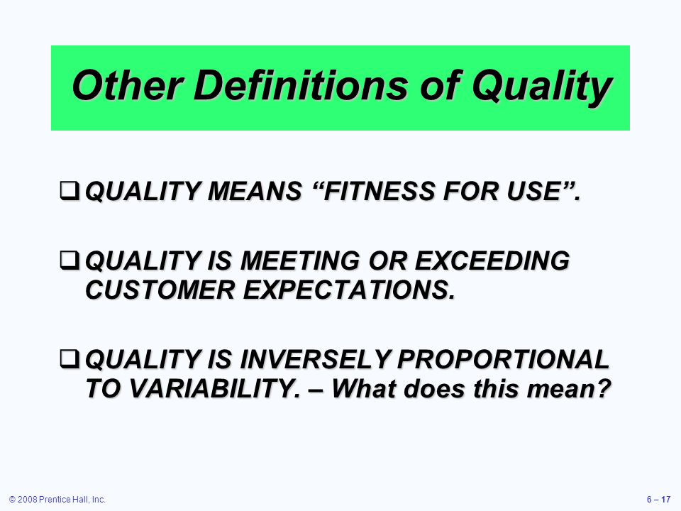 Other Definitions of Quality