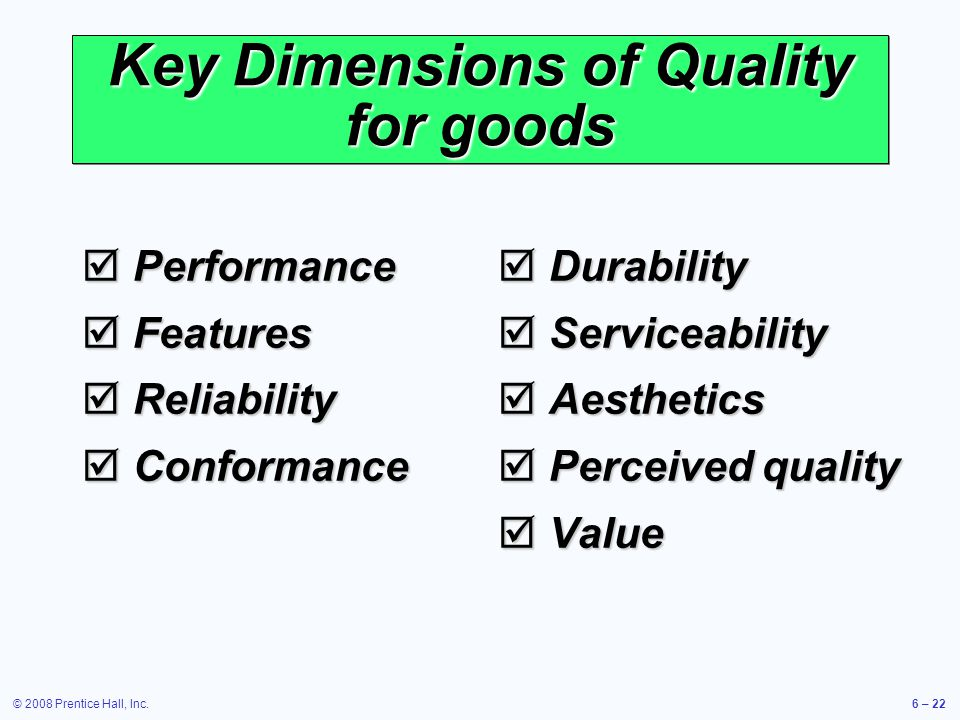 Key Dimensions of Quality for goods