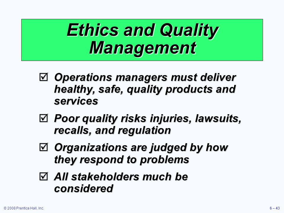 Ethics and Quality Management