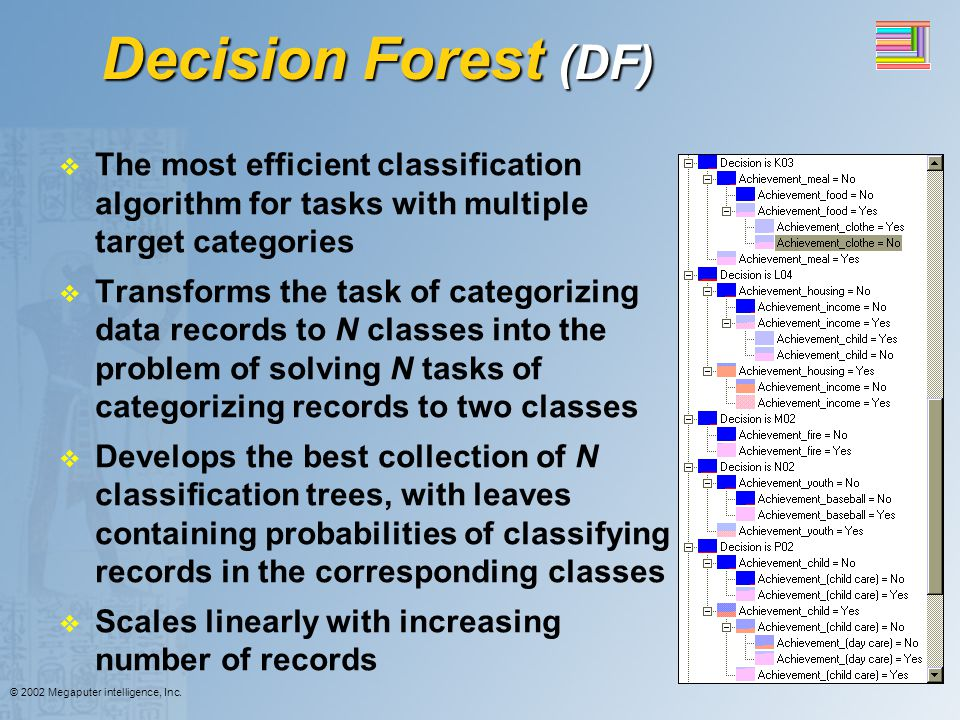 Decision Forest (DF) The most efficient classification algorithm for tasks with multiple target categories.