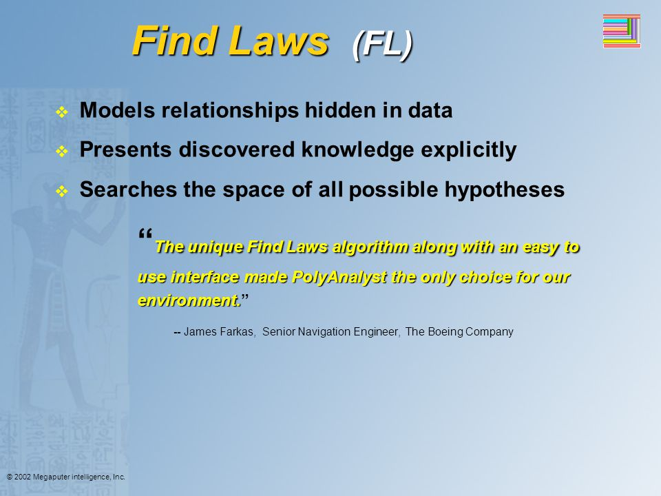 Find Laws (FL) Models relationships hidden in data