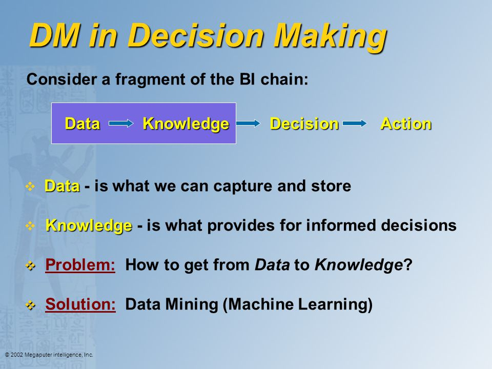 DM in Decision Making Consider a fragment of the BI chain: Data
