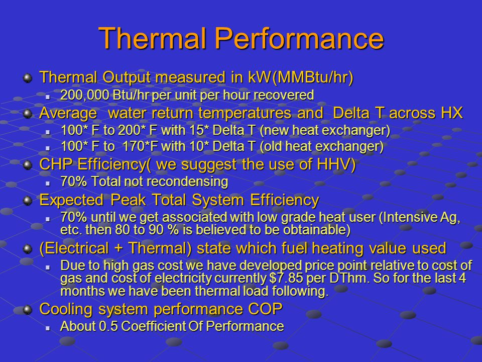Thermal Performance Thermal Output measured in kW(MMBtu/hr)