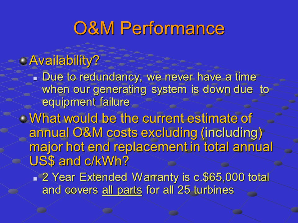 O&M Performance Availability