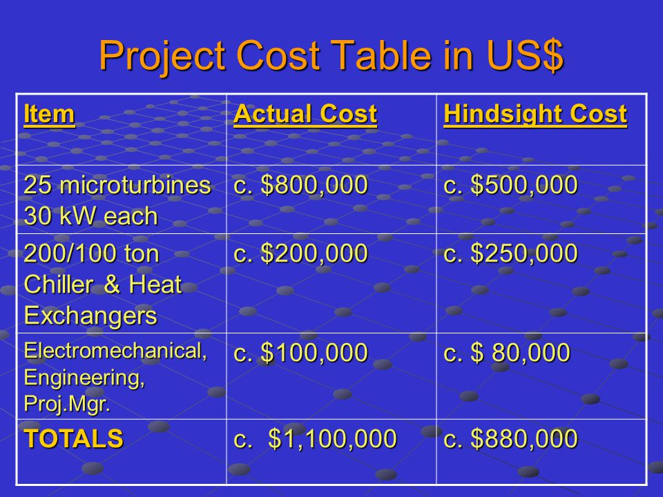 Project Cost Table in US$